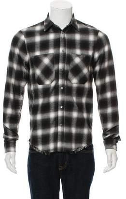 Amiri Distressed Plaid Button-Up Shirt