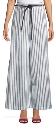 Neiman Marcus Side-Slit Wide-Leg Striped Pants w/ Rope Belt
