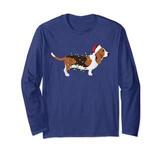 Long Sleeve Christmas Lights Basset Hound T-Shirt