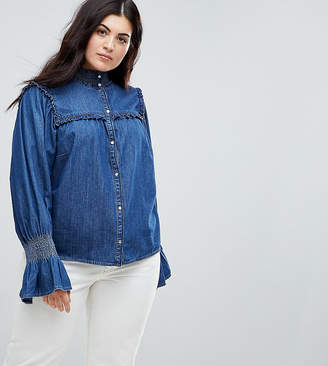 Asos DESIGN Curve denim shirred shirt with frill detail in indigo