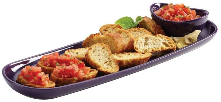 Rachael Ray Stoneware Baguette Tray with Dipping Cup in Purple