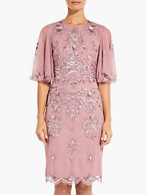 Adrianna Papell Beaded Wide Sleeve Cocktail Dress, Rose