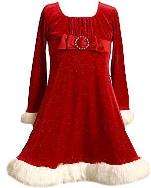 Bonnie Jean Velvet Santa Dress - Girls