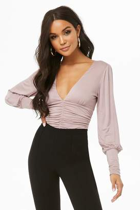 Forever 21 Plunging Ruched Bodysuit