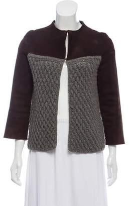 Agnona Leather-Accented Cashmere Jacket