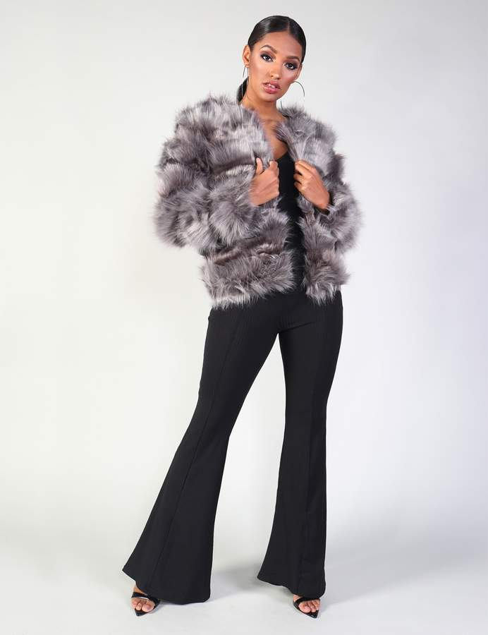 Luxe Bubble Faux Fur Jacket Dark