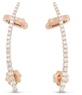14k Rose Gold 0.81 Ct. Natural Diamond Ear Wrap Cuff Stud Earrings