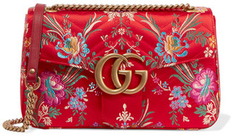 Gg Marmont Medium Quilted Floral-jacquard Shoulder Bag - Red