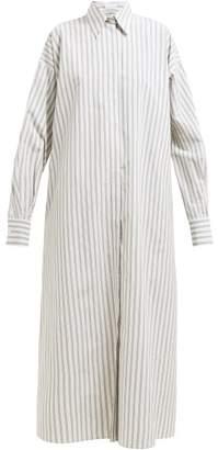 Raey Oversized Striped Cotton Maxi Shirtdress - Womens - White
