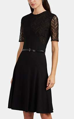 Jason Wu Women's Lace-Inset Ponte Belted Fit & Flare Dress - Black Size 10