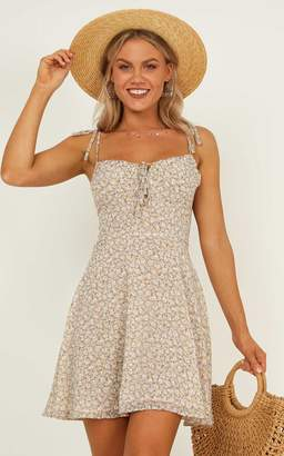 Showpo Too much time mini dress in beige floral - 14 (XL) Dresses