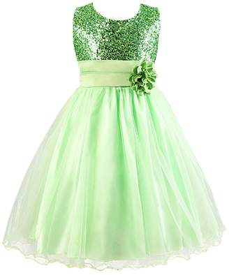 FREE FISHER Flower Girls Dress for Wedding Party with Sequins 170