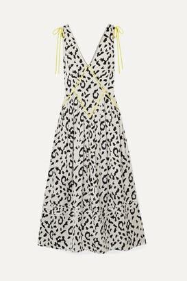 Self-Portrait Self Portrait Embroidered Leopard-print Satin-jacquard Midi Dress - Cream
