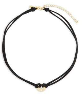 18K Goldplated Sterling Silver & Faux Leather Circle Pendant Choker