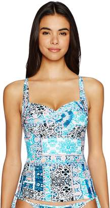 Seafolly Women's Twist Front Soft Cup Halter Tankini Swimsuit Top, Silk Market , 12 US
