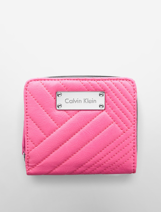 Calvin Klein Geometric Quilted French Zip Wallet