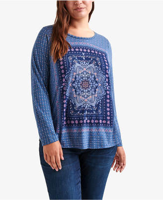 Lucky Brand Trendy Plus Size Medallion-Graphic T-Shirt