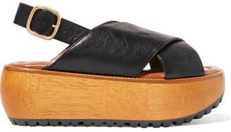 Marni Textured-leather Platform Slingback Sandals