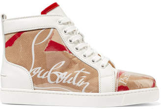 Christian Louboutin Louis Leather And Logo-print Pvc Sneakers - Tan