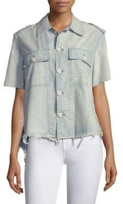 Amo Army Chambray Button-Front Shirt
