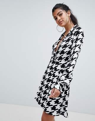 Asos Design DESIGN soft tux wrap mini dress in large houndstooth with long sleeves