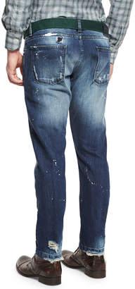 Kiton Distressed Straight-Leg Jeans, Blue