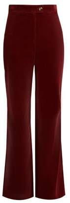 ALEXACHUNG High Rise Wide Leg Cotton Corduroy Trousers - Womens - Burgundy