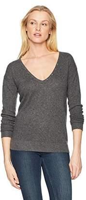 Minnie Rose Women's 100% Cashmere V-Henley Sweater
