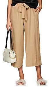 Raquel Allegra Women's Washed Linen Crop Pants - Camel