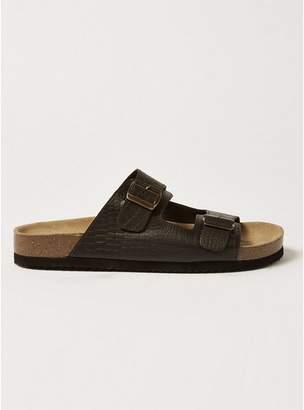 Topman Mens Brown Crocodile Double Strap Roli Sandals