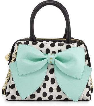 Betsey Johnson Ready Set Bow Dot-Print Satchel Bag, Dot/Teal $95 thestylecure.com