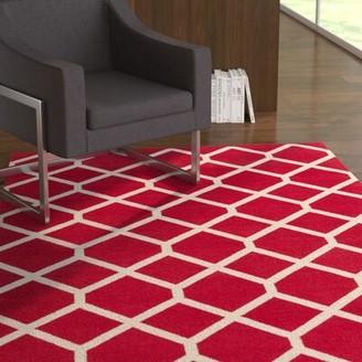 Ebern Designs Murphree Hand Woven Cotton Red & Ivory Area Rug Ebern Designs