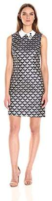 Trina Turk Women's Queen Bee Sleevelss Jacquard Dress with Removeable Collar
