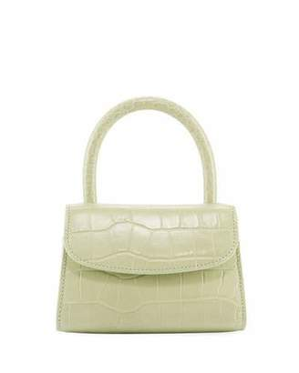 BY FAR Mini Croc-Embossed Leather Top-Handle Bag, Sage