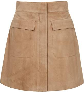 Reiss Leah - Suede Mini Skirt in Stone