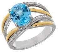 Lord & Taylor Blue Topaz, Sterling Silver and 14K Yellow Gold Crisscross Ring