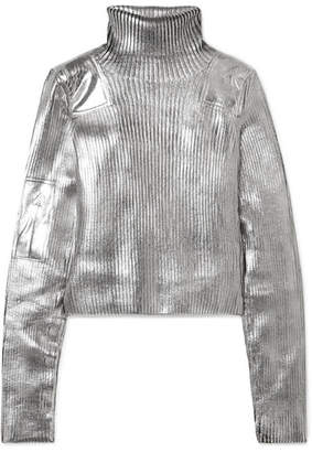 MM6 MAISON MARGIELA Metallic Ribbed-knit Turtleneck Sweater - Silver