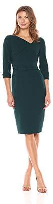 Adrianna Papell Women's Stretch Crepe Belted Sheath