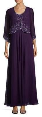 J Kara Two-Piece Sequined Open Front Jacket and Floor-Length Dress