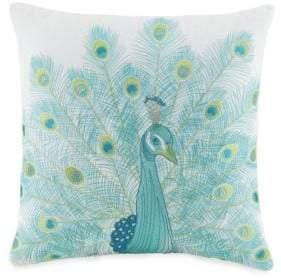 Jessica Simpson Aquarius Linen-Blend Peacock Cushion