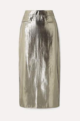 REJINA PYO Mina Ruched Lamé Midi Skirt - Silver