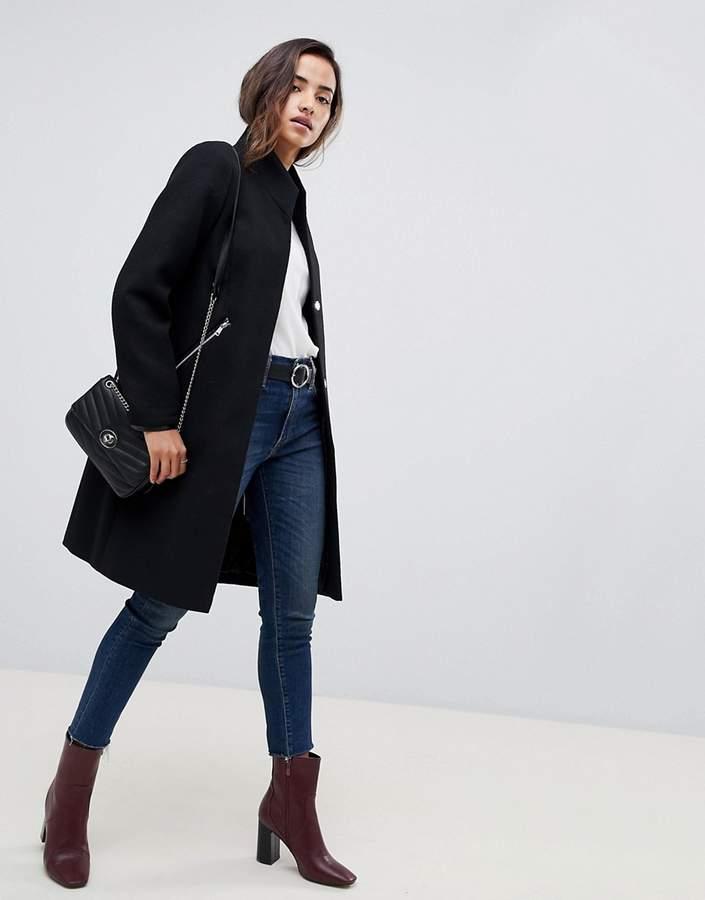 ASOS DESIGN smart funnel neck coat with contrast trim