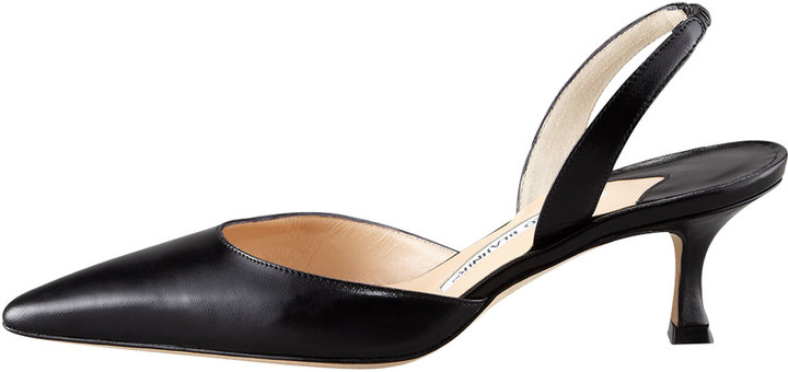 Manolo Blahnik Kidskin Low-Heel Halter, Black