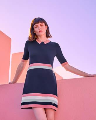 Ted Baker ORIGAMI Knitted stripe detail dress