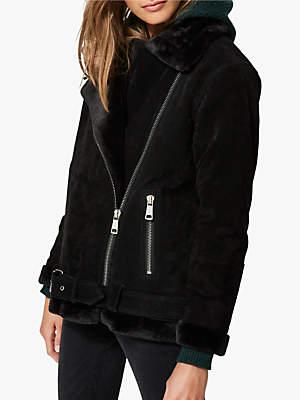 Victoria Faux Fur Collar Suede Jacket, Black