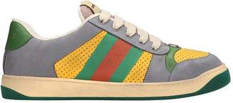 Gucci Screener Grey And Yellow Leather And Suede Sneakers