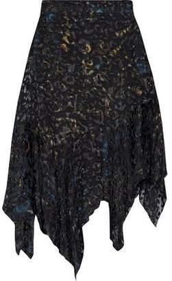 IRO Birken Asymmetric Leopard-Print Devoré-Chiffon Skirt