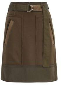 BOSS Hugo Military-inspired A-line miniskirt in an Italian wool 4 Open Green