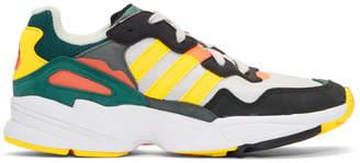 adidas Grey and Yellow Yung 96 Sneakers