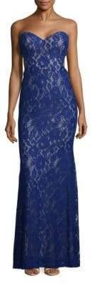 La Femme Elegant Embroidered Lace Floor-Length Gown